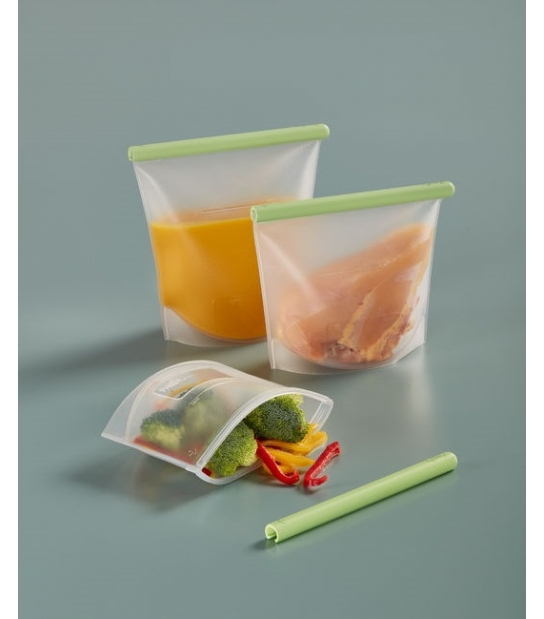 Conjunto de 3 Bolsas de Silicone Reutilizáveis - Lékué